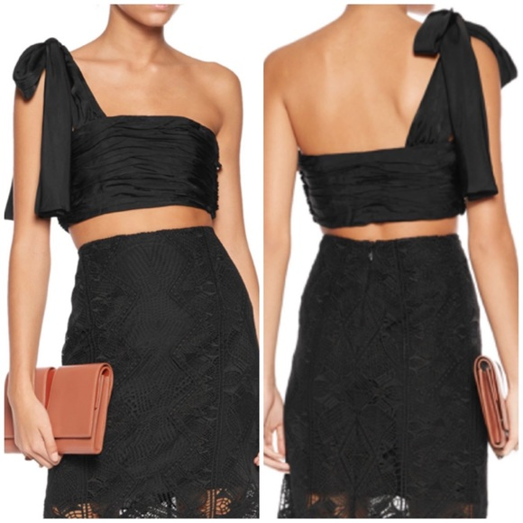 1f36181d3c Cinq a Sept Amora One-Shoulder Black Crop Top. NWT